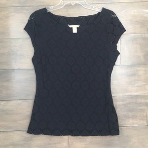 Banana Republic Navy Overlay Top